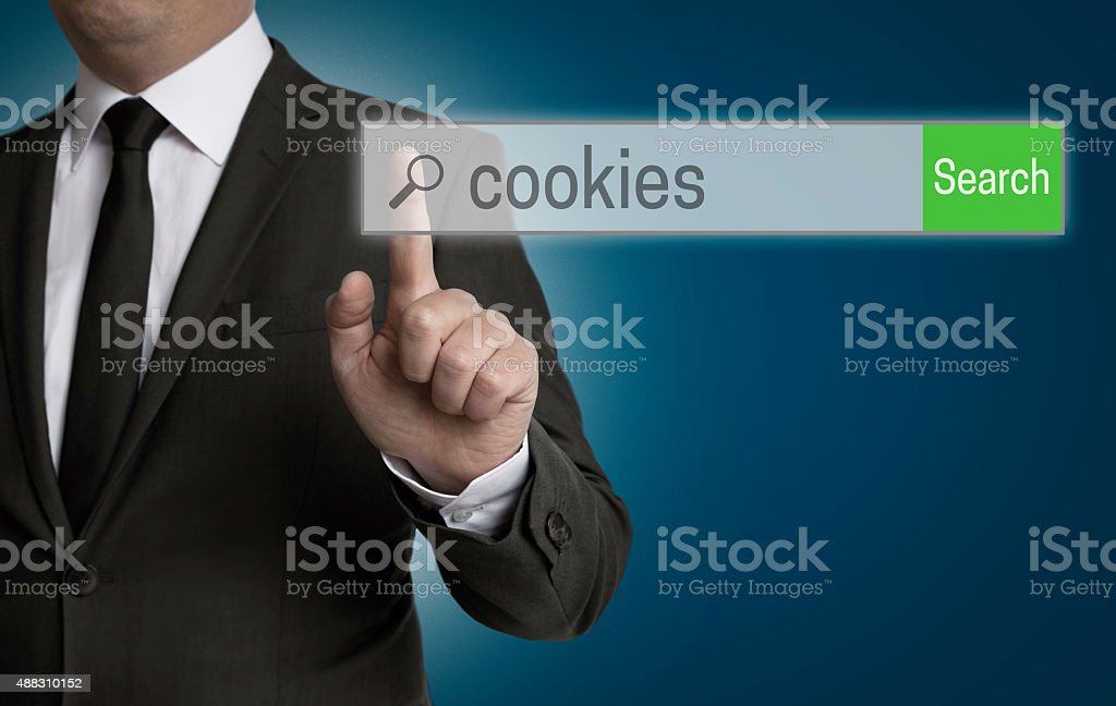 cookies internet browser is operated by businessman stock photo