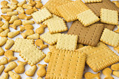 Cookies of different shapes on a white background. Closeup
