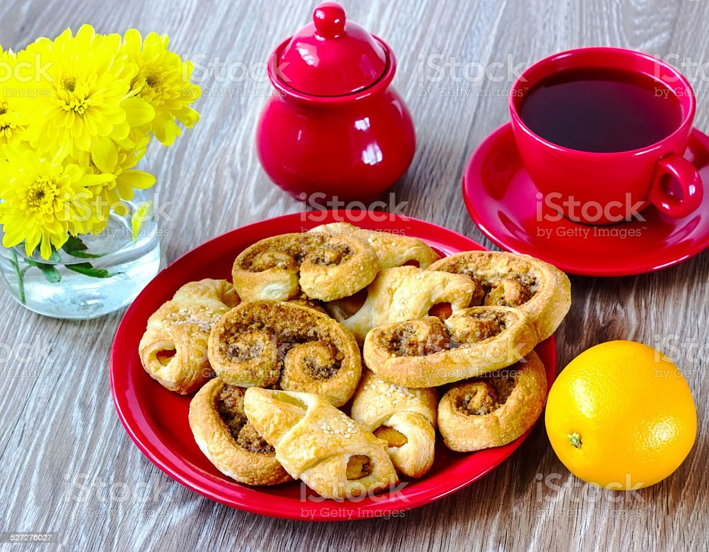 cookies on a red plate stock photo