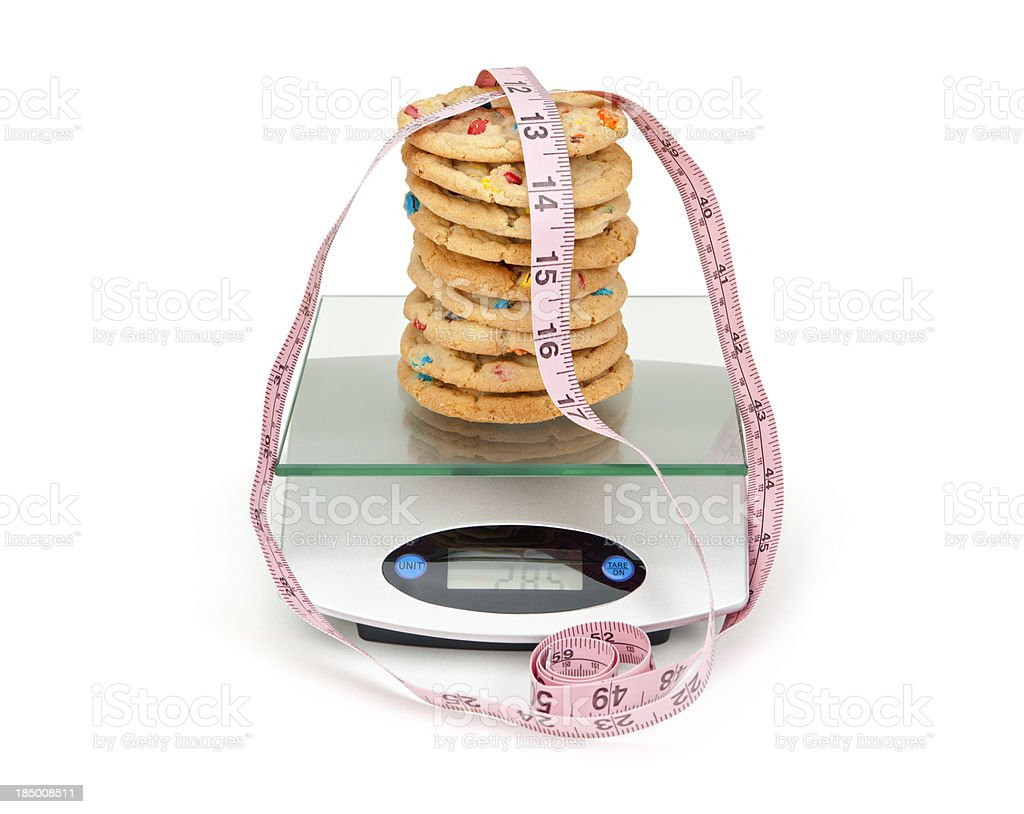 Cookies on Diet Scale royalty-free stock photo