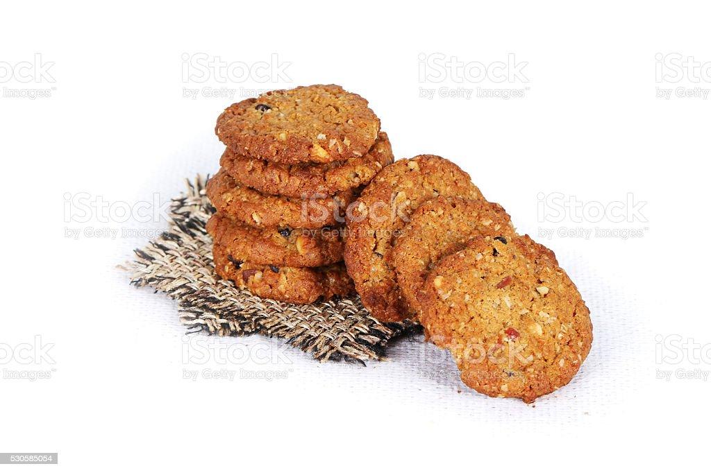 cookies on white, jute, multi grain, multigrain handmade cookies stock photo