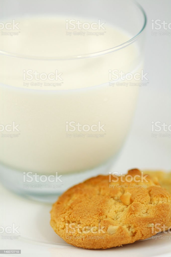 Cookies on White Plate and Glass of Milk royalty-free stock photo