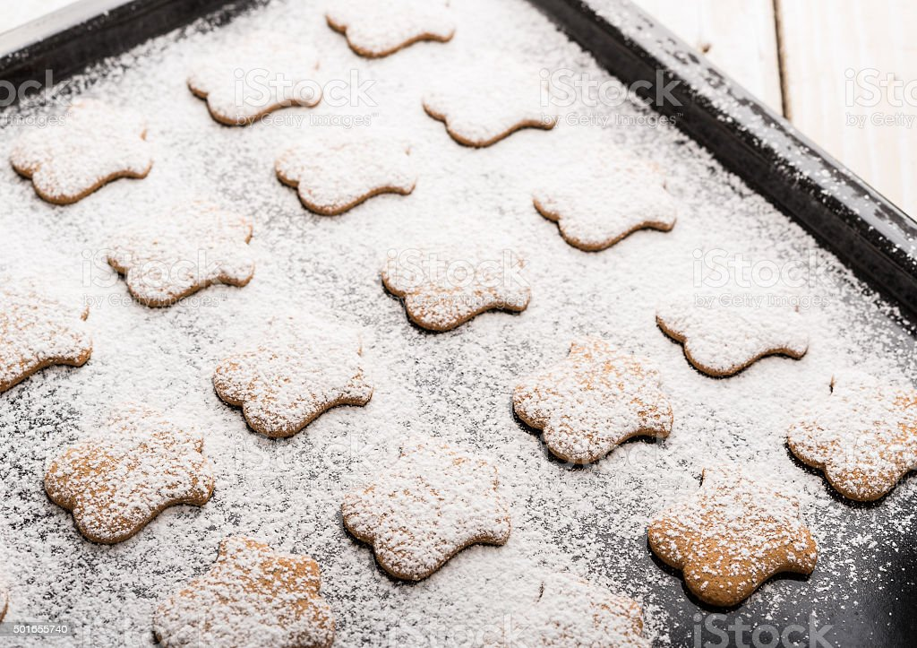 Cookies powdered with sugar stock photo