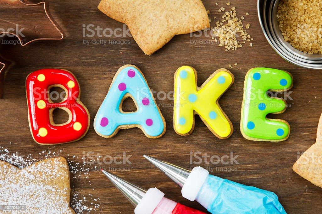 Cookies spelling bake stock photo