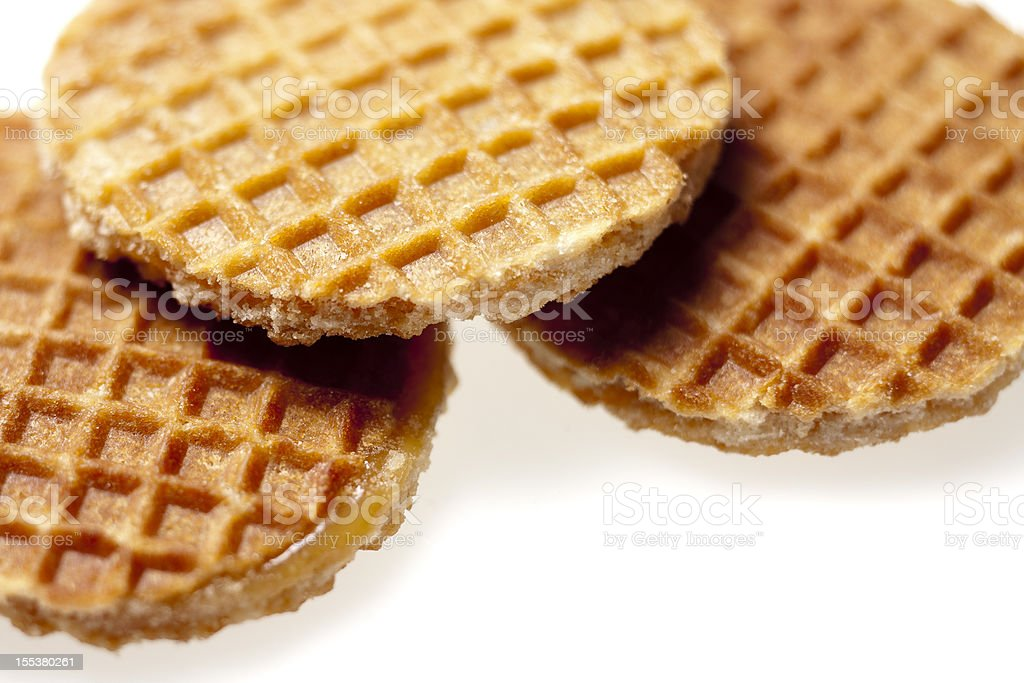 Cookies, waffles with a treacle layer in between, Dutch 'stroopwafels' stock photo