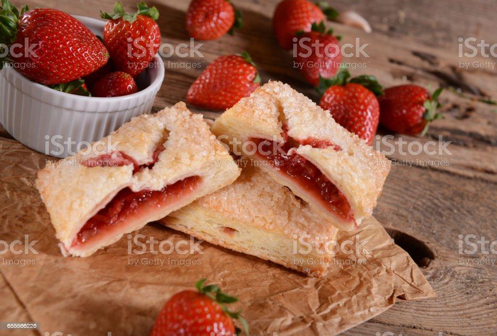 Cookies wit strawberries stock photo