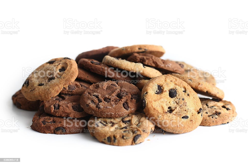 Cookies with chocolate chip isolated on white background. stock photo