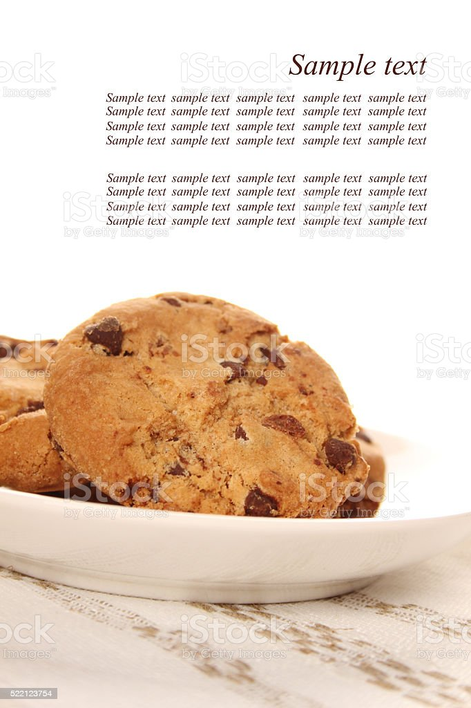 Cookies with chocolate chip stock photo