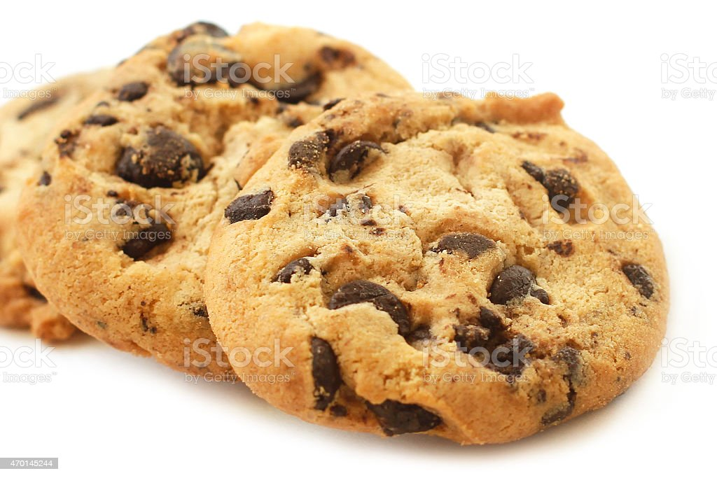 Cookies with chocolate chips close-up stock photo