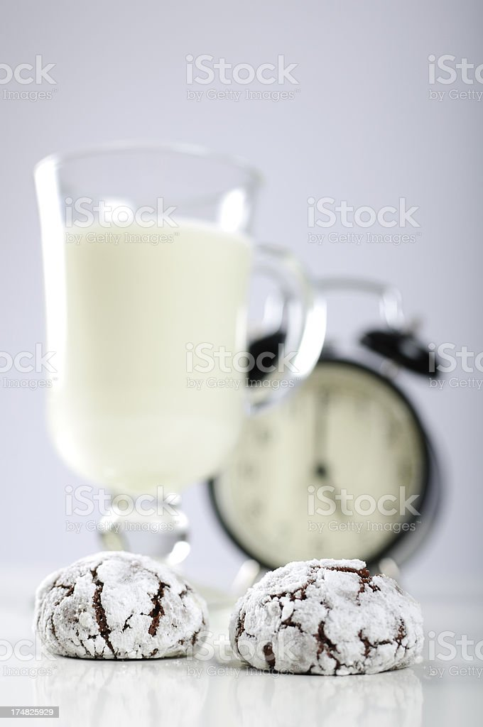 Cookies with cocoa and a glass of milk royalty-free stock photo