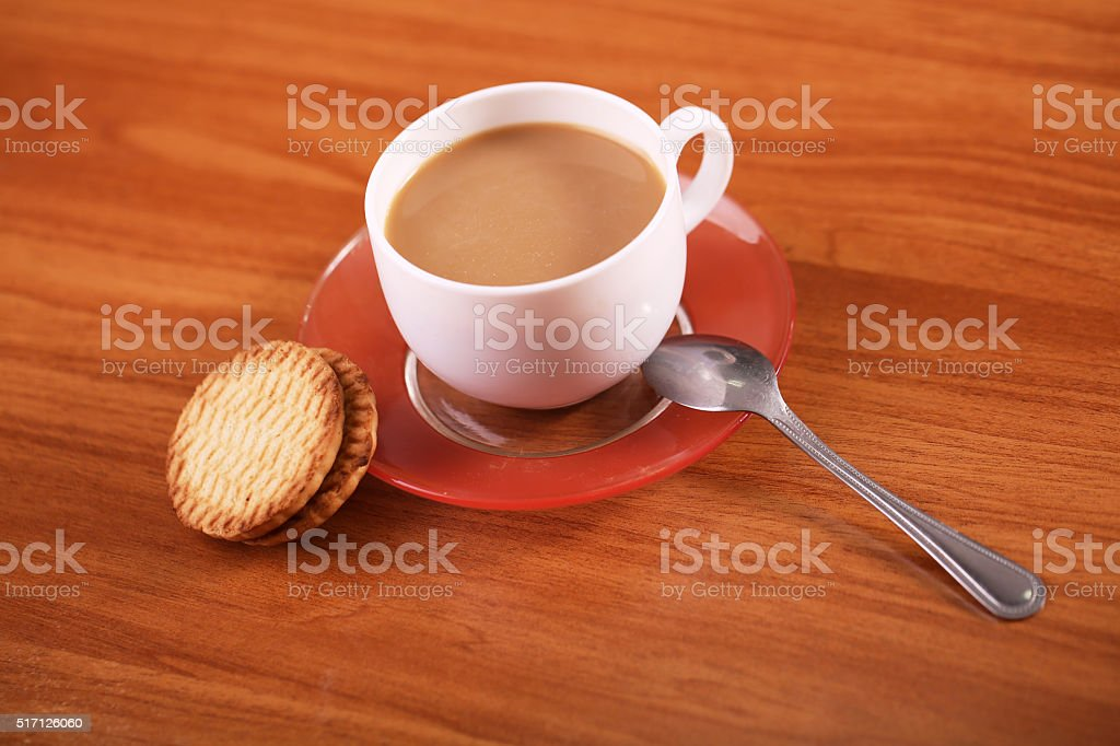 Cookies with coffee on table royalty-free stock photo