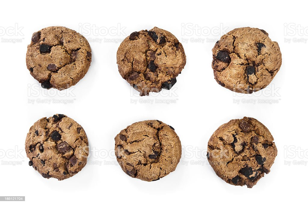 Cookies with dark and milk chocolate chunks isolated royalty-free stock photo