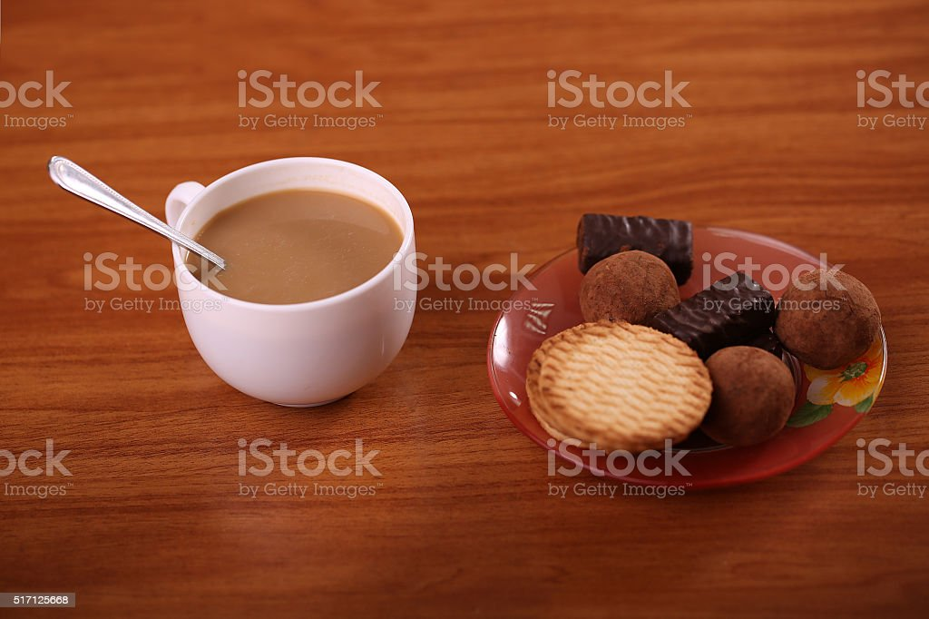 Cookies with hot drink royalty-free stock photo