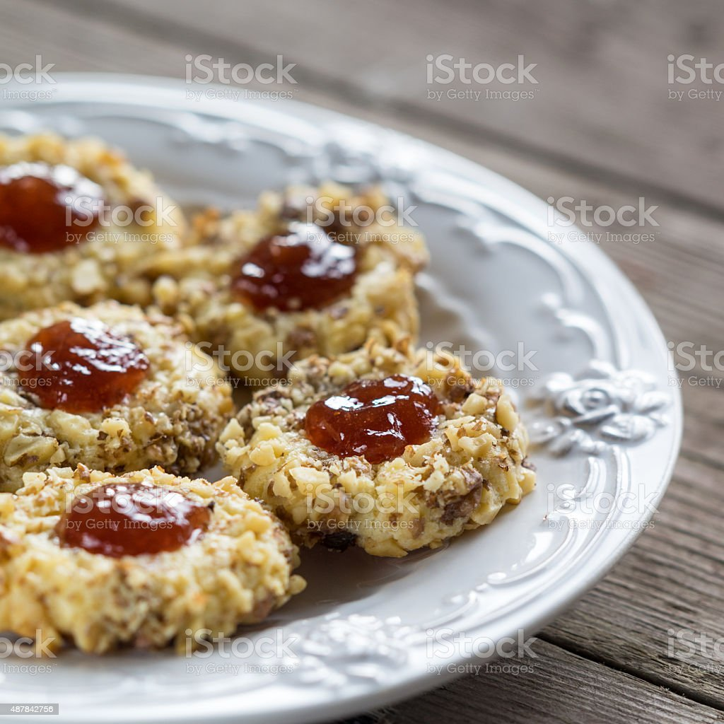 cookies with jam on a plate stock photo