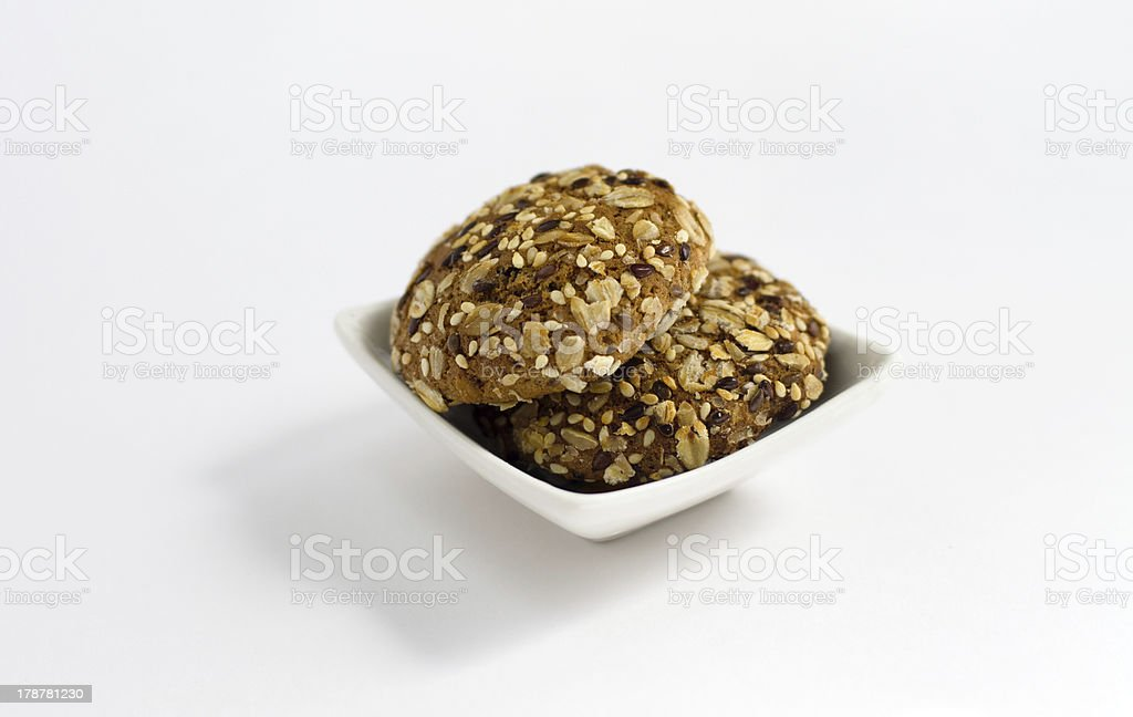 cookies with seeds  on plate isolated royalty-free stock photo