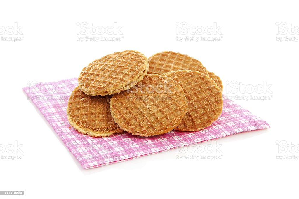 Cookies with syrup, typical Dutch stroopwafels royalty-free stock photo