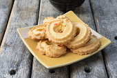 cookies with yellow ceramic dish, selective focus