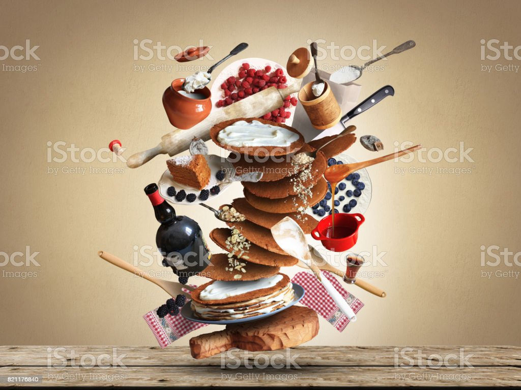 Cooking a large cake stock photo