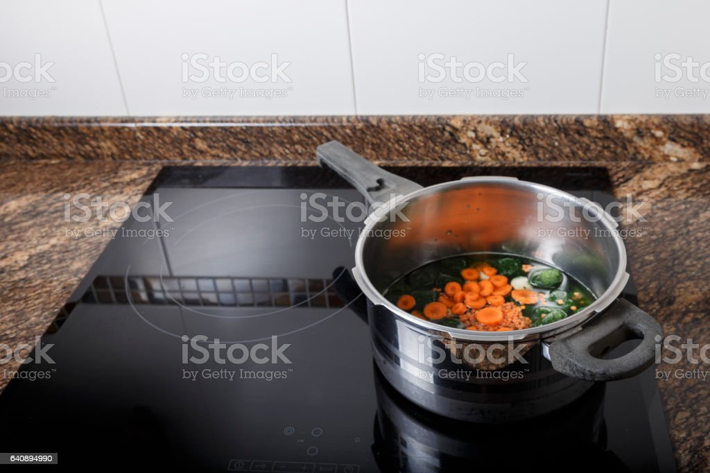Cooking a stew stock photo