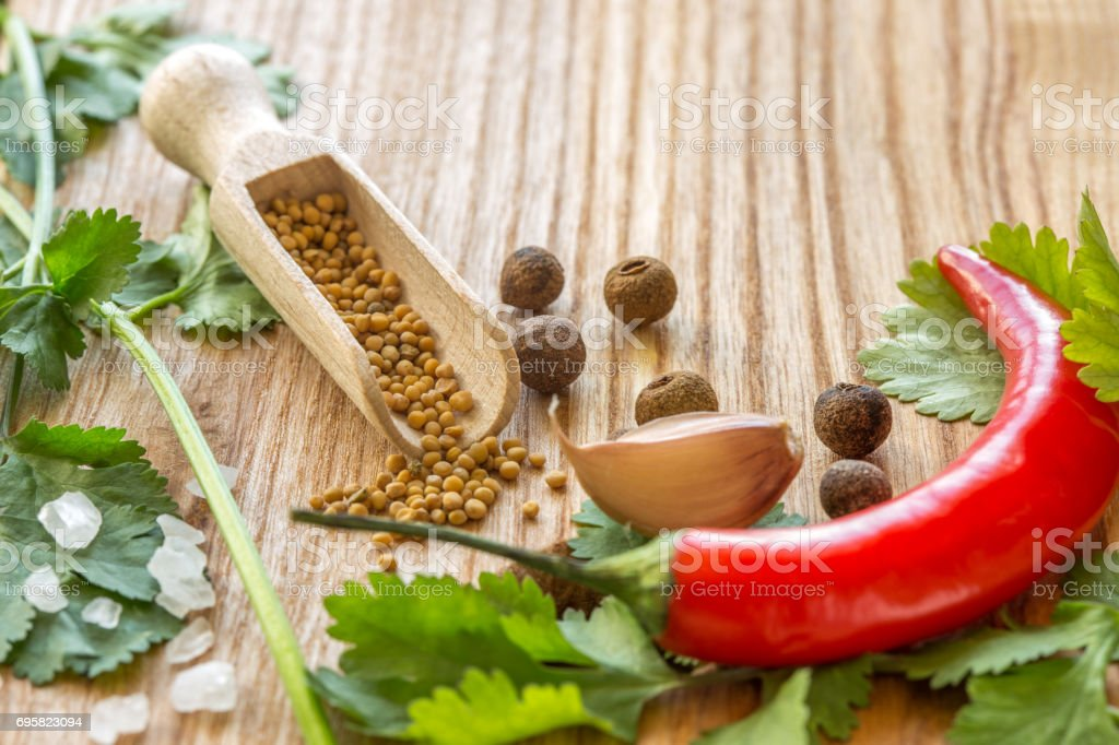 Cooking Additives. Parsley, garlic, pepper stock photo