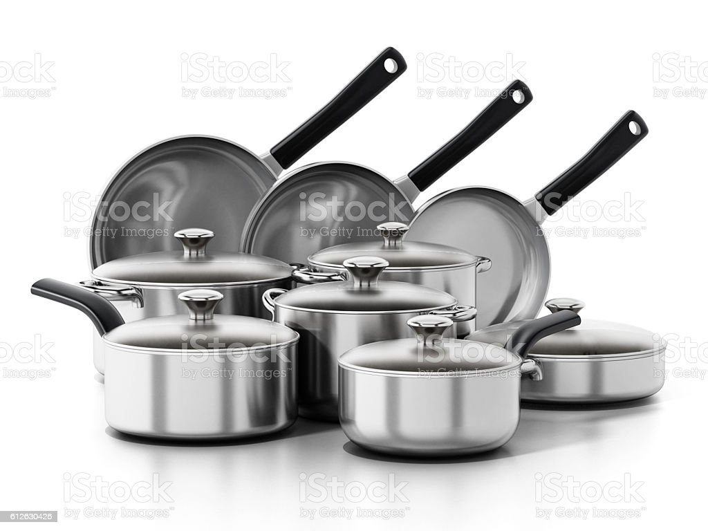 Cooking and frying pans set isolated on white. stock photo