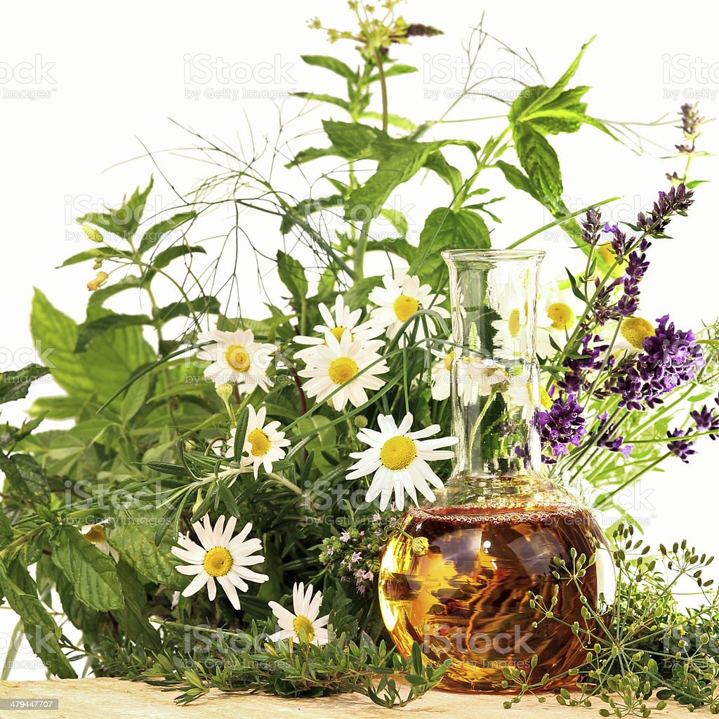 Cooking and homeopathy with herbs stock photo