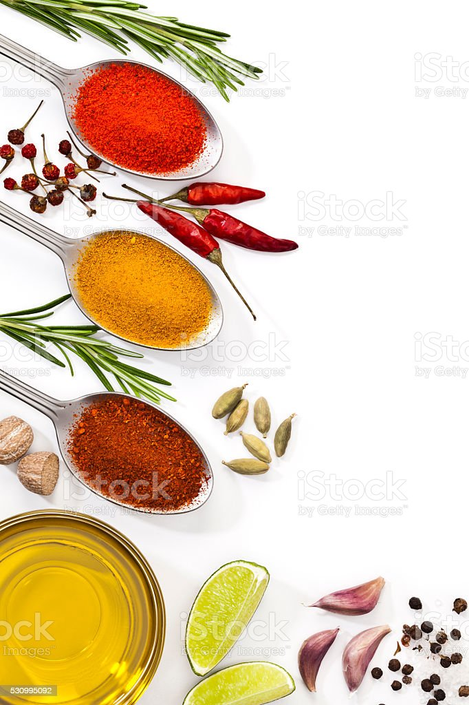 Cooking and seasoning ingredients border stock photo