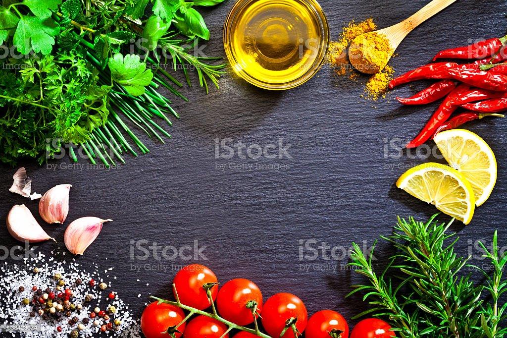 Cooking and seasoning ingredients border stock photo