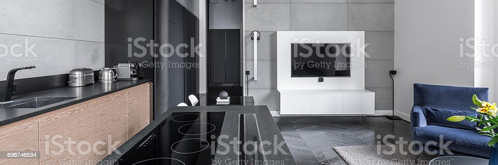 Cooking area in multifunctional apartment stock photo