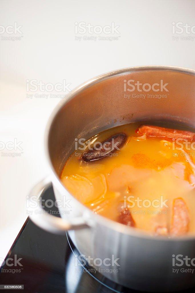 cooking Asturian beans fabada stock photo