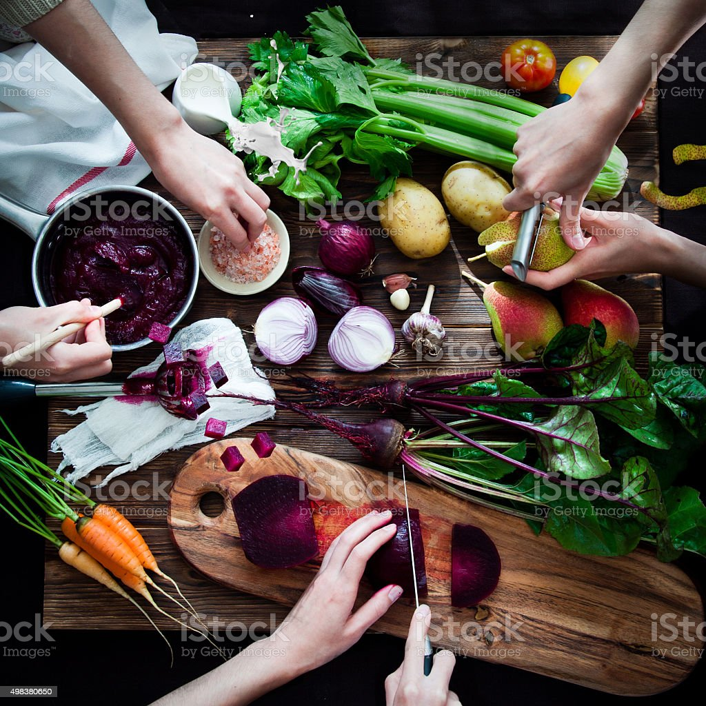 Cooking Beetroot soup stock photo