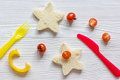 cooking breakfast for kid star sandwiches top view