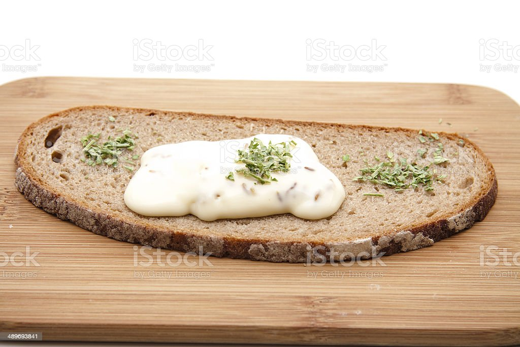 Cooking cheese with bread stock photo