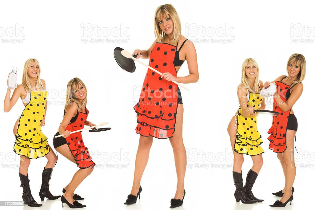 Cooking chef female sexy team royalty-free stock photo