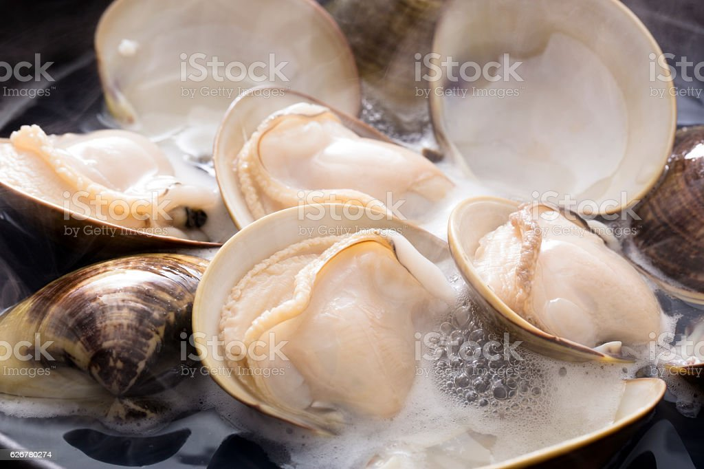 Cooking clams stock photo