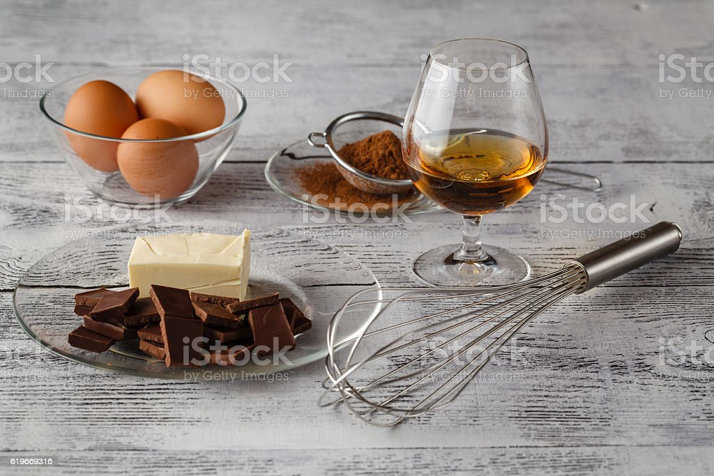 Cooking concept. Basic baking ingredients and kitchen tools clos stock photo