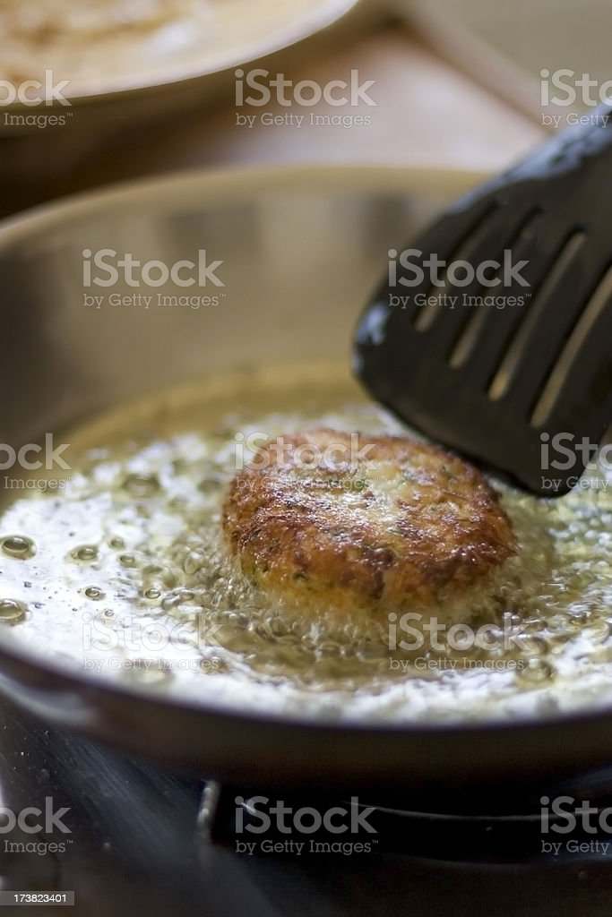 Cooking Crabcakes royalty-free stock photo