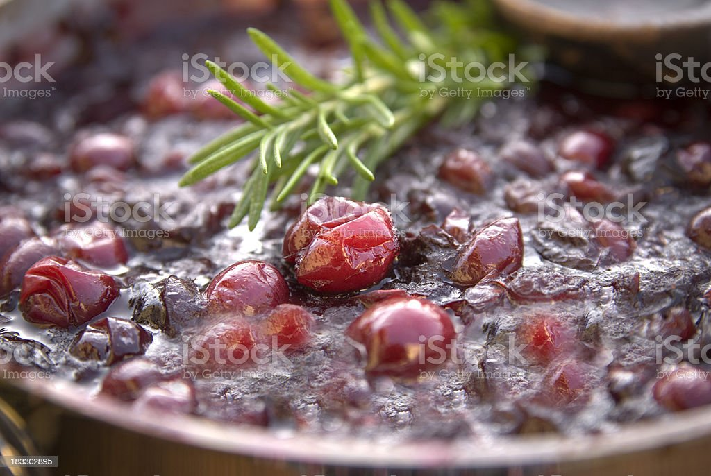 Cooking Cranberry Sauce, Thanksgiving & Christmas Holiday Preserves stock photo