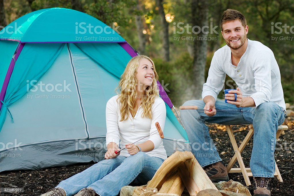 Cooking Dinner at Camp royalty-free stock photo