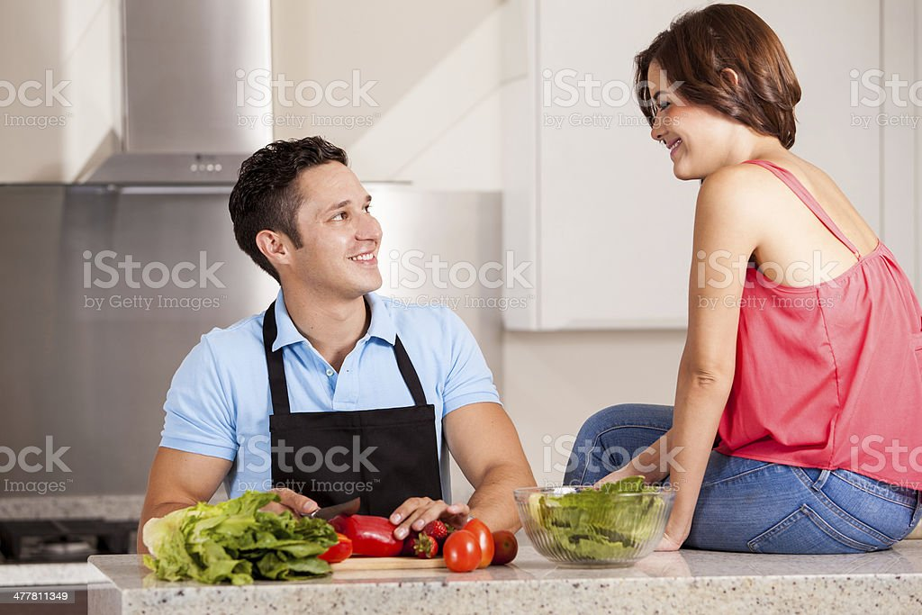 Cooking dinner for my girlfriend royalty-free stock photo