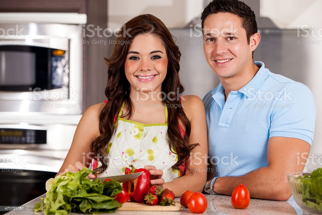 Cooking dinner on a date royalty-free stock photo