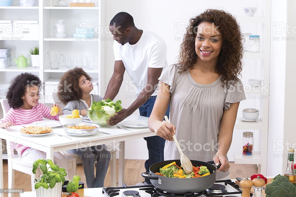 Cooking Family Meal stock photo