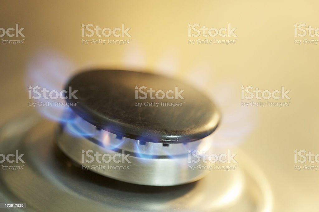 Cooking fire at kitchen royalty-free stock photo