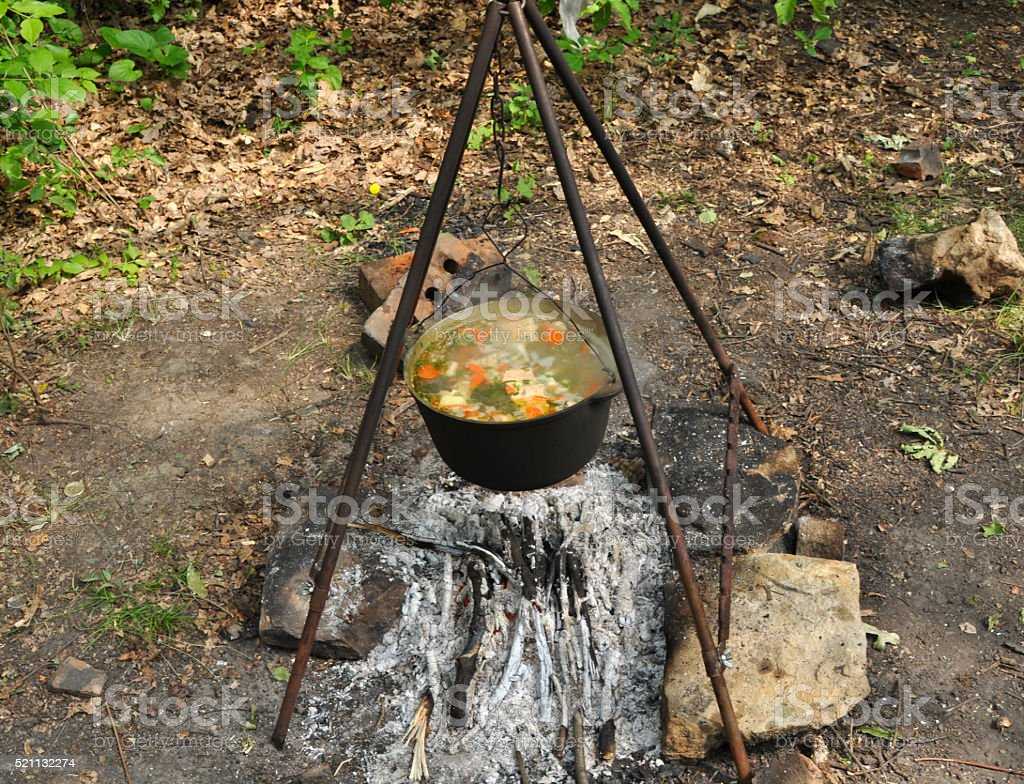 Cooking fish soup stock photo