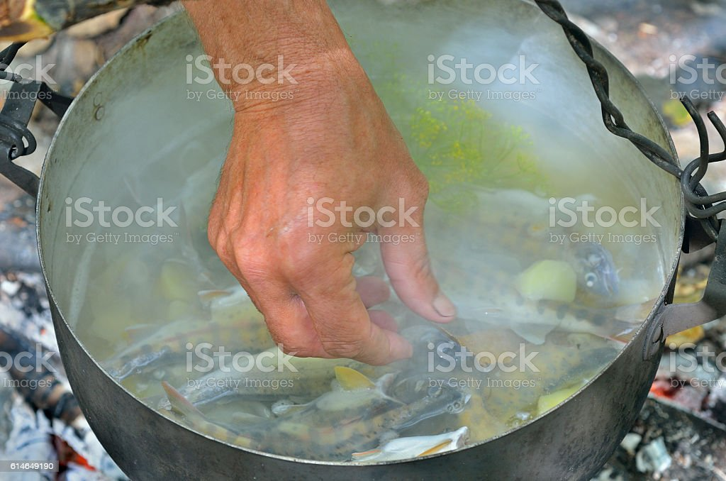 Cooking fish-soup stock photo