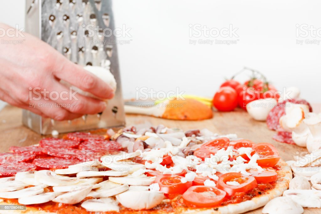 Cooking food. Chef cook a delicious pizza stock photo