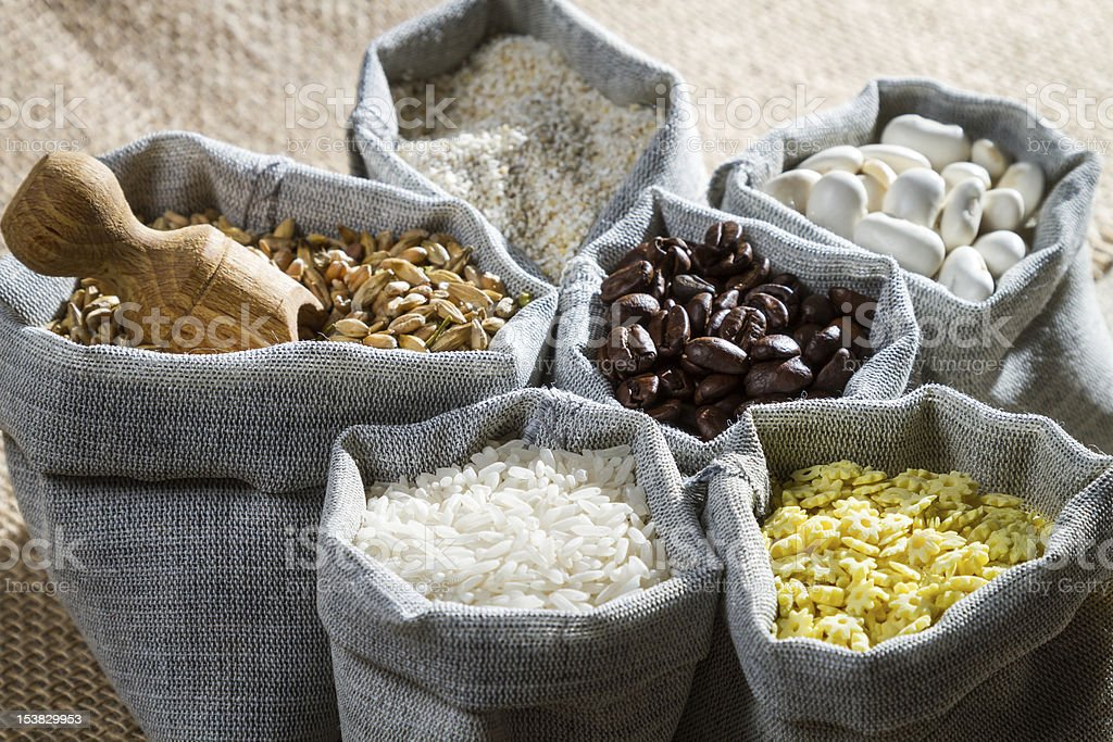 Cooking food ingredients in cloth bags royalty-free stock photo