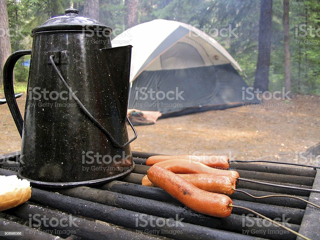 Cooking Food On A Camping Trip royalty-free stock photo