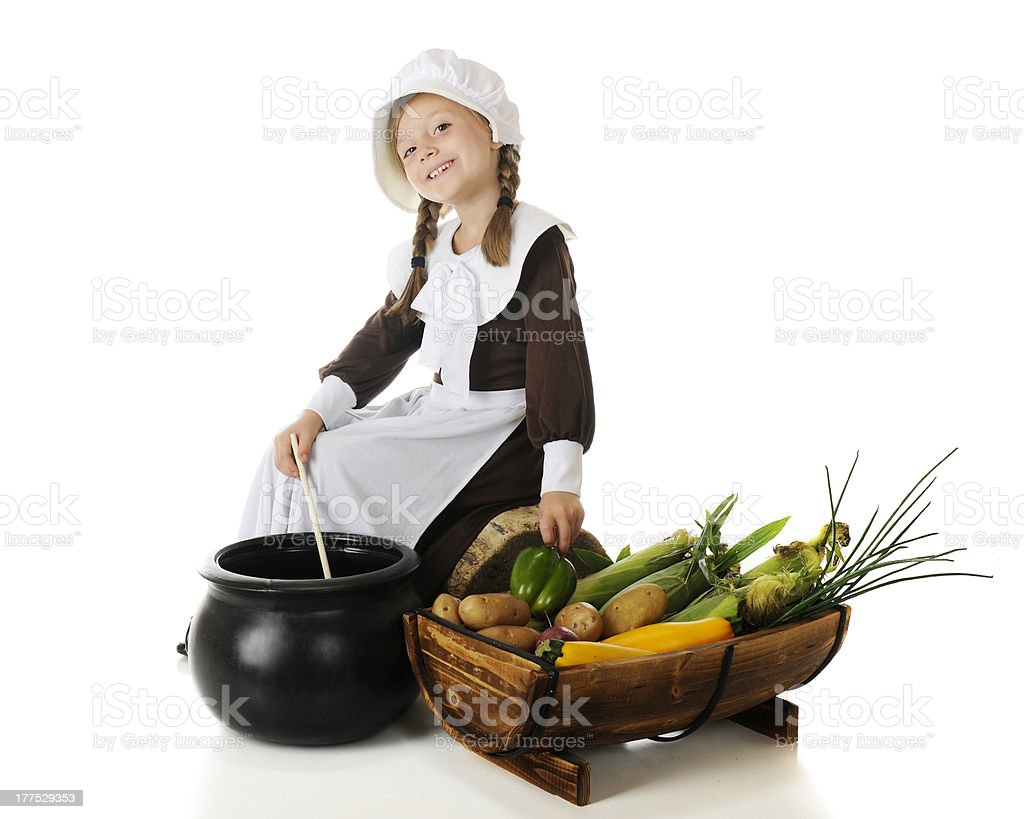 Cooking for the First Thanksgiving stock photo