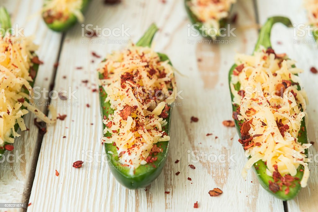 Cooking fried jalapeno poppers with cheese stock photo